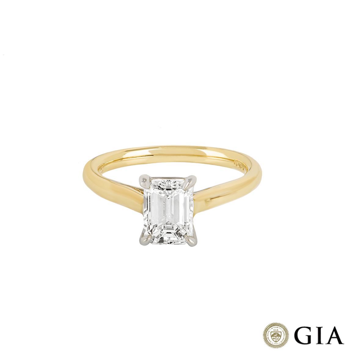 Yellow Gold Emerald Cut Diamond Ring 1.31ct F/VVS2